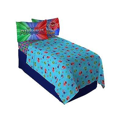 "PJ Masks ""It's Hero Time Full Sheet Set for Kids 4pc Bedding Sheet Set - 81 X 96 Inch [Blue]: Home & Kitchen"