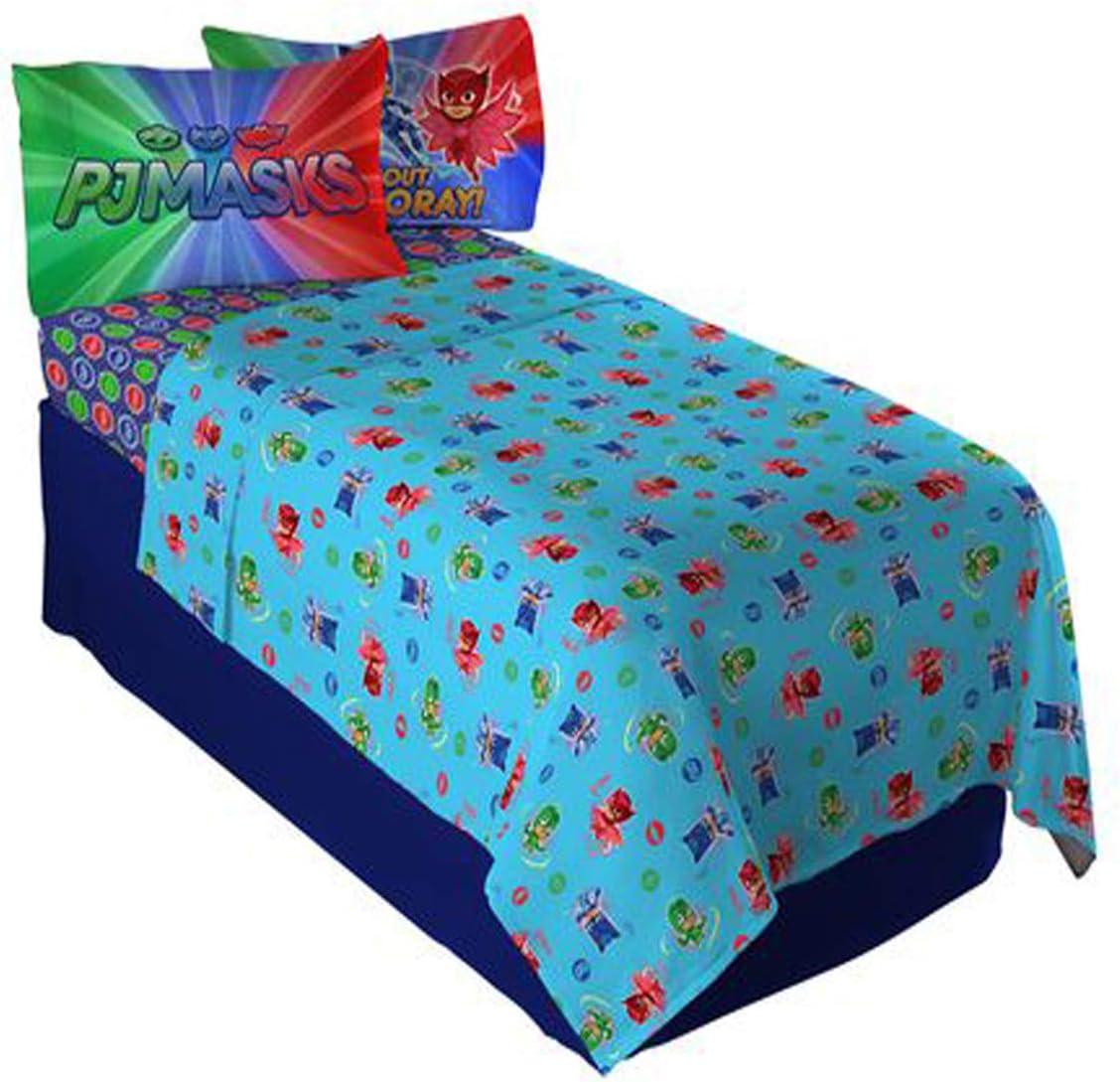 "PJ Masks ""It's Hero Time Full Sheet Set for Kids 4pc Bedding Sheet Set - 81 X 96 Inch [Blue]"
