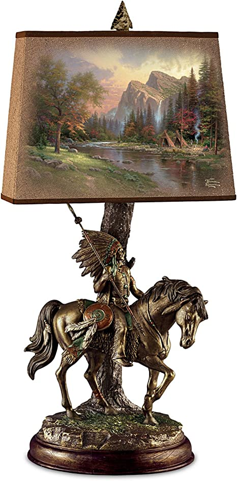 Thomas Kinkade Native Journeys Sculpture Lamp With Art Shade By
