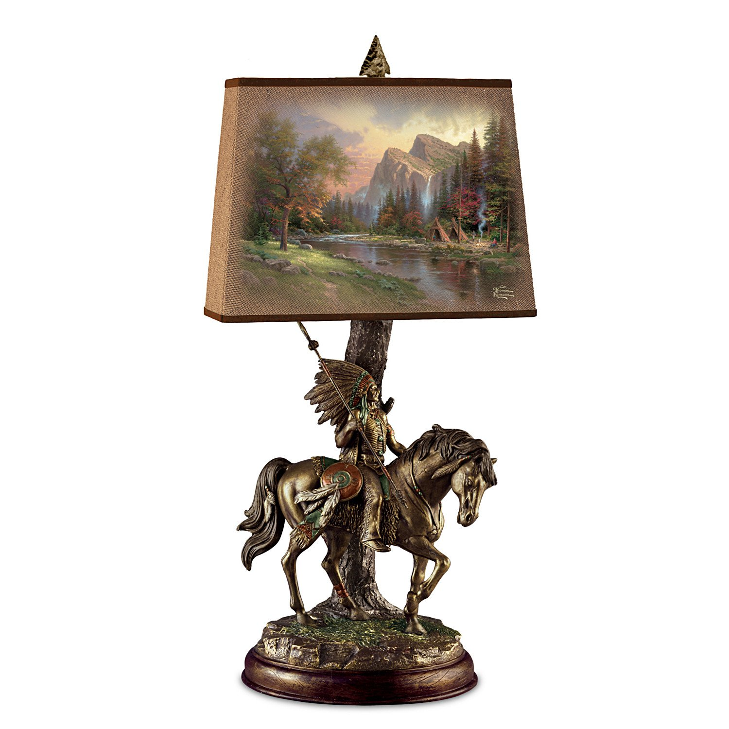 Thomas Kinkade Native Journeys Sculpture Lamp With Art Shade by The Bradford Exchange