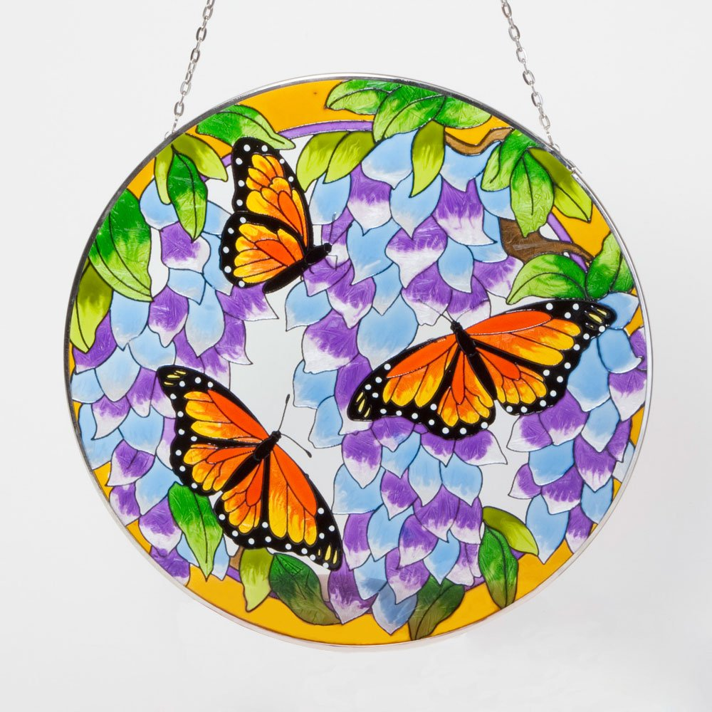 Bits and Pieces Home and Garden Décor-Artistic Butterfly Suncatcher - Hand Painted Monarch Butterfly Makes a Stunning Window Display Melville Direct