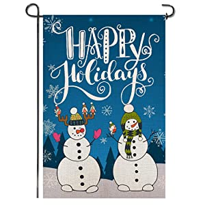 Shmbada Merry Christmas Winter Welcome Double Sided Burlap Garden Flag, Seasonal Happy Holiday Outdoor Smile Cute Snowmen Decorative Flags for Home House Yard Lawn Patio Porch, 12.5 x 18.5 Inch
