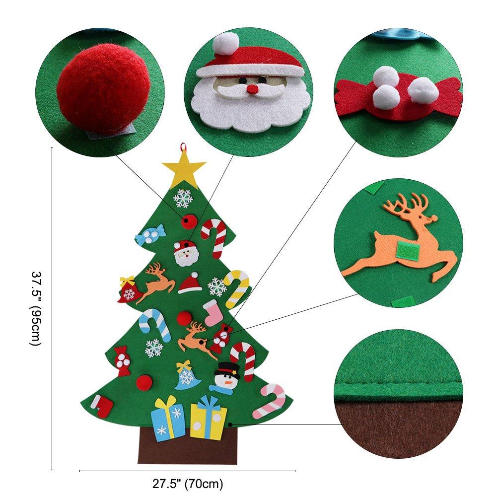 Amazon.com: AerWo 3ft DIY Felt Christmas Tree Set + 26pcs Detachable ...