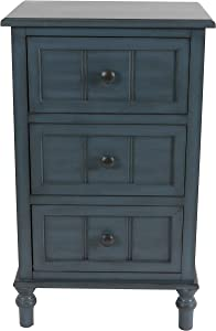 Decor Therapy Simplify Three Drawer Accent table, Antique Navy