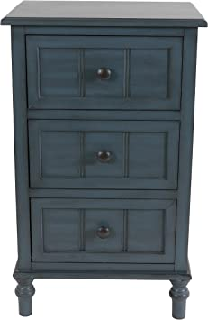 Amazon Com Decor Therapy Simplify Three Drawer Accent Table Antique Navy Furniture Decor