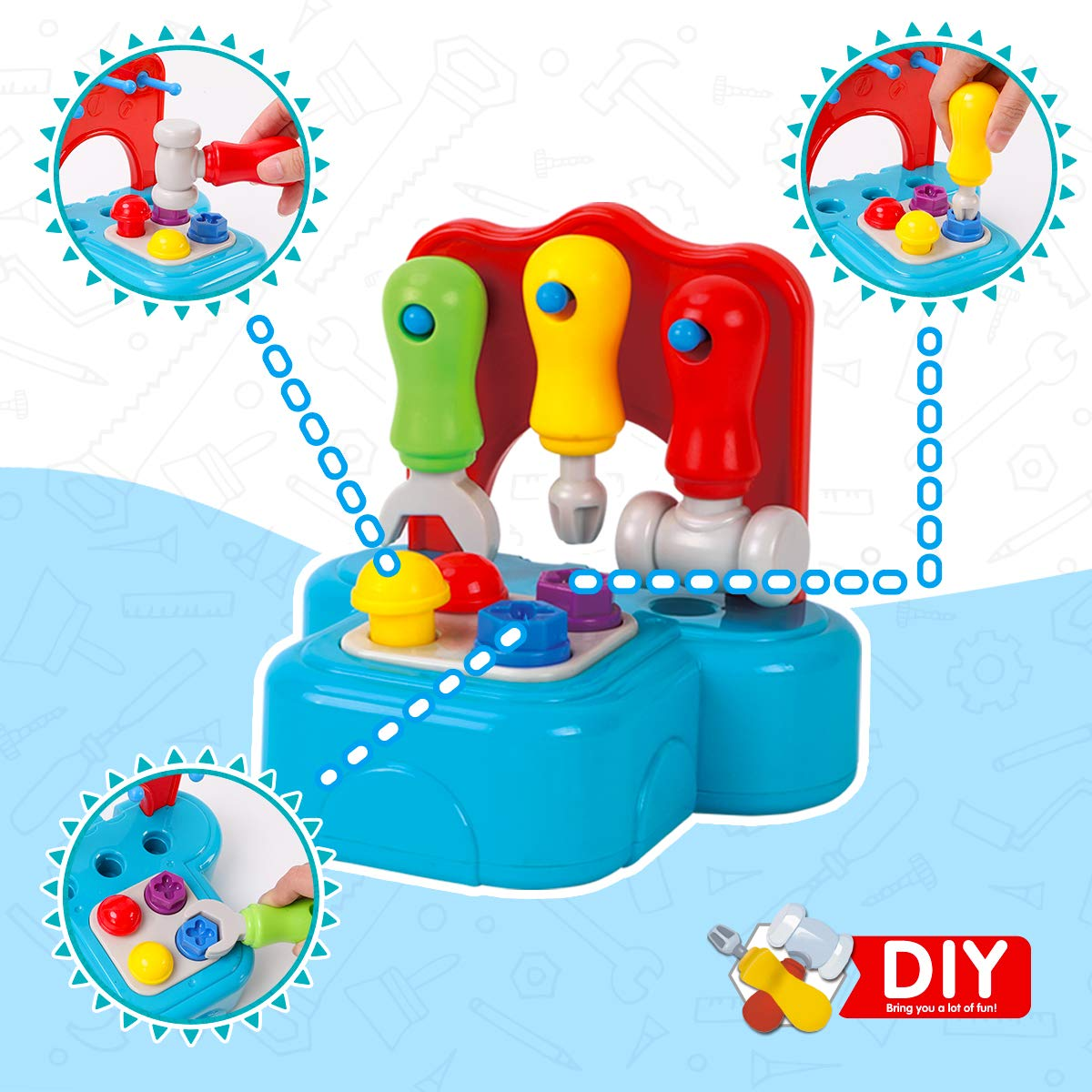 GILOBABY Kids Learning Tool Set with Lights and Sounds Pretend Playset Construction Tool STEM Building Toys for Toddler Boys and Girls Age 2+
