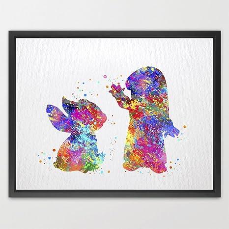 dignovel Studios Lilo y Stitch impresión niños acuarela ...