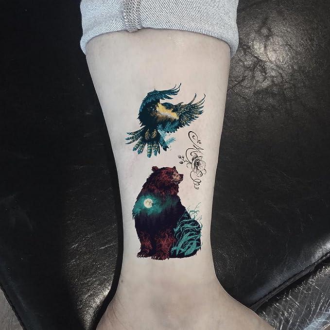 Tahly - Adhesivos temporales para tatuaje (diseño de oso y águila ...