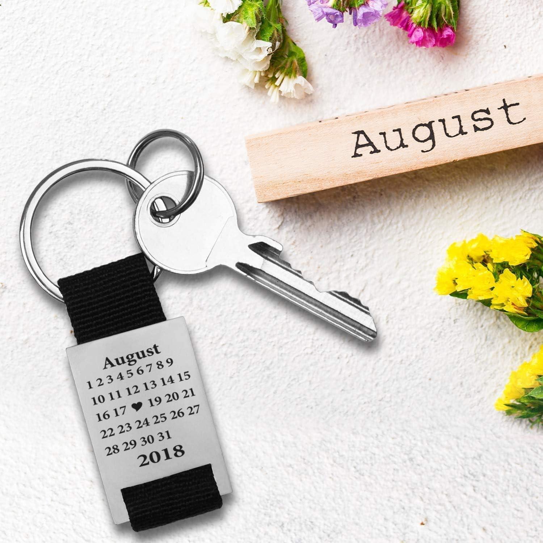 KAULULU Llavero Personalizados Grabado Fecha Calendario Llavero Fecha Personalizada Colgante Coraz/ón con Nombre Llavero para Mujer Hombre Parejas