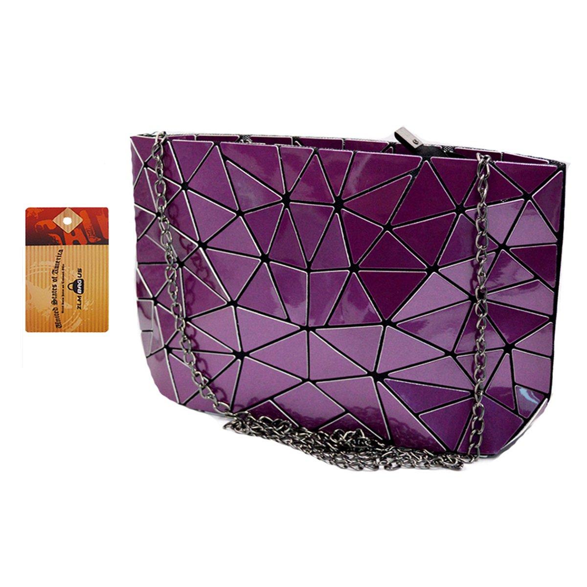 ZLMBAGUS Fashion Hologram Laser Envelope Clutch Geometric Pattern PU Tote Handbag Metal Chain Shoulder Crossbody Bag Purple
