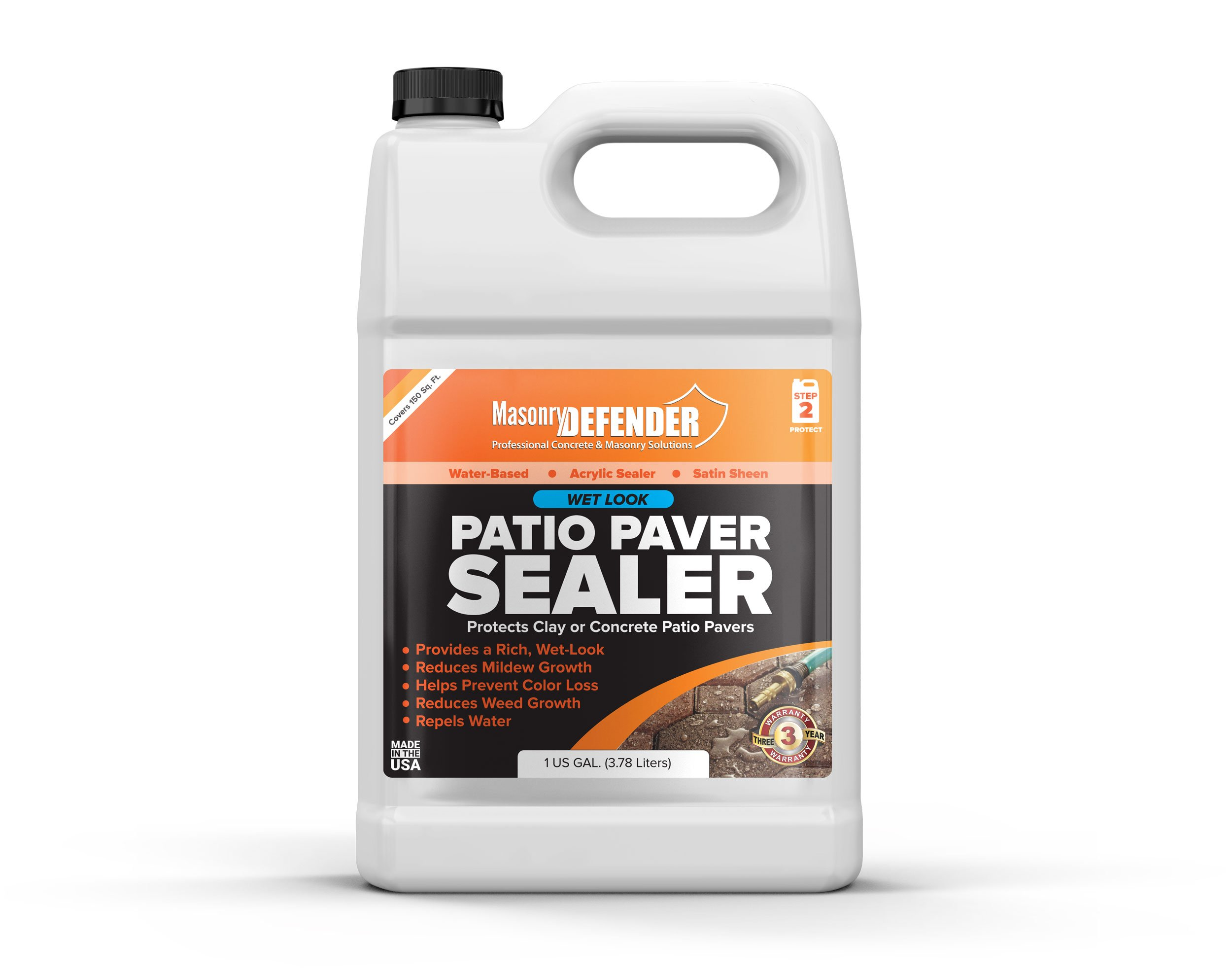 Low Gloss Patio Paver Sealer, 1 gal - Clear Water-Based Sealant for Natural Stone Surfaces