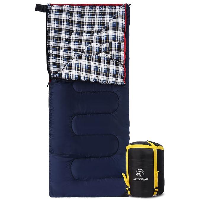 REDCAMP - Saco de Dormir de Franela de algodón para Acampada, para Camping, 41 F/5 C, 3 - 4 - 4 Estaciones, cálido y cómodo, Sobre Azul con Relleno de 2 ...