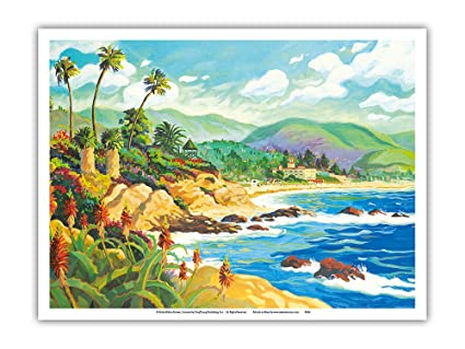 Tropic Travels Hawaii Paradise Ocean Vintage Original Painting Art Poster Print