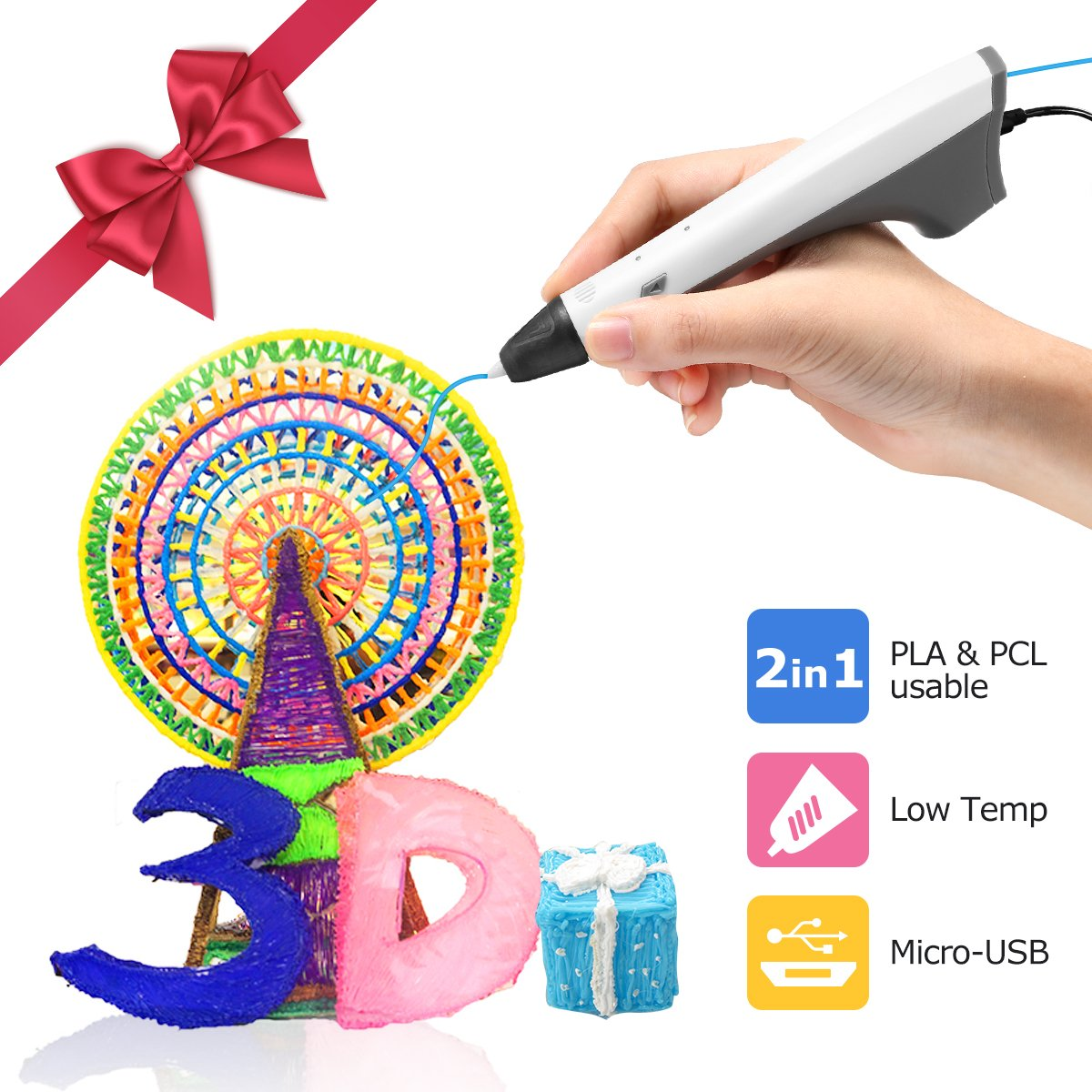 Ailink 3D Printing Pen,Upgrade Intelligent 3D Pen With 1.75mm PLA/PCL Filament,One Button Operation No Burn No Toxic No Clog Gifts for Boys Girls (grey-white)