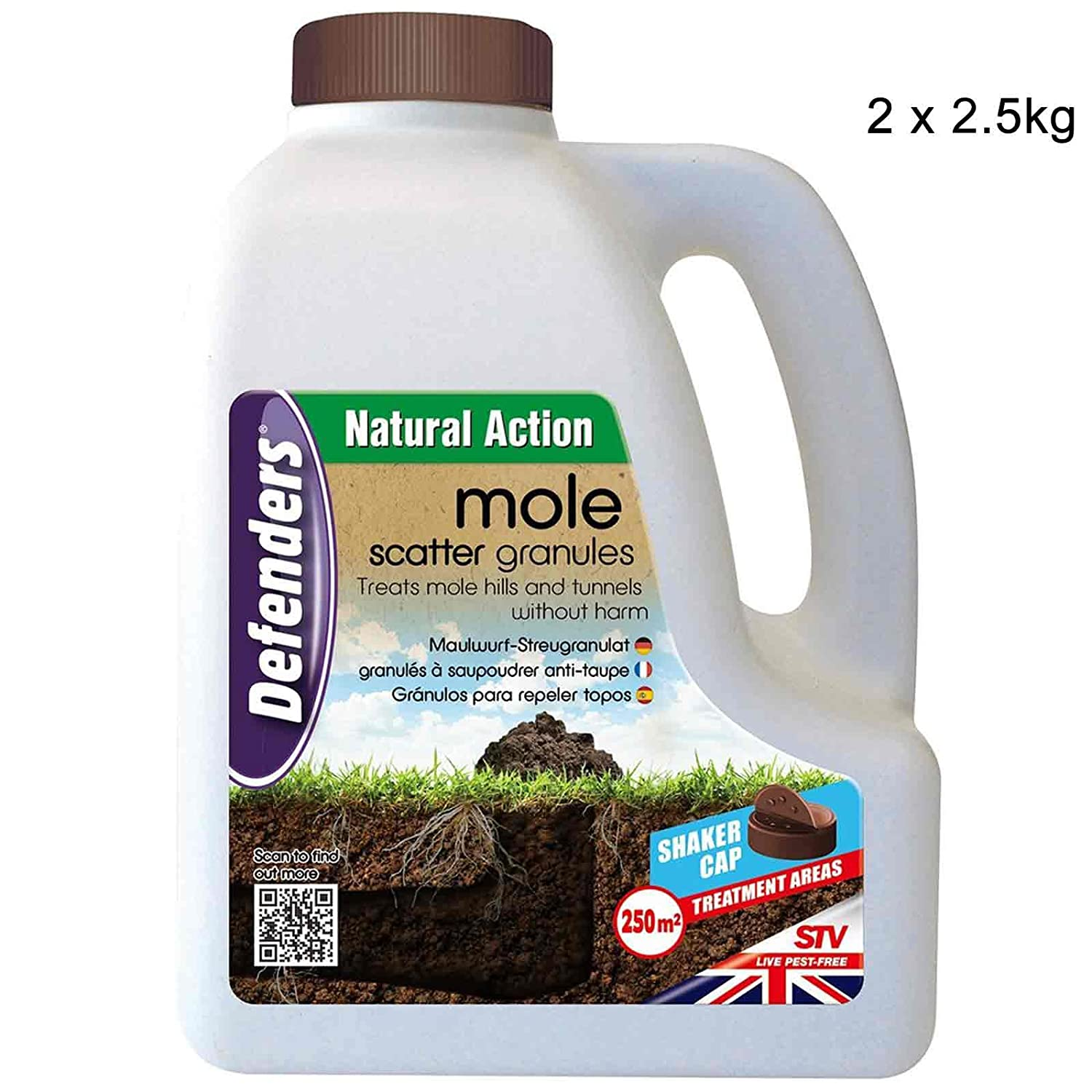 Defenders 2 x 2.5 kg Mole Scatter Granules (Humane, Natural Mole Deterrent, Use Year-Round, Covers Up to 250 sq m, Safe for Use Around Kids and Pets)