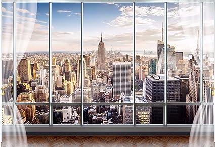 HHCYY 3D Stereo Sfondi Murali Moderne Finestre Finte New York ...