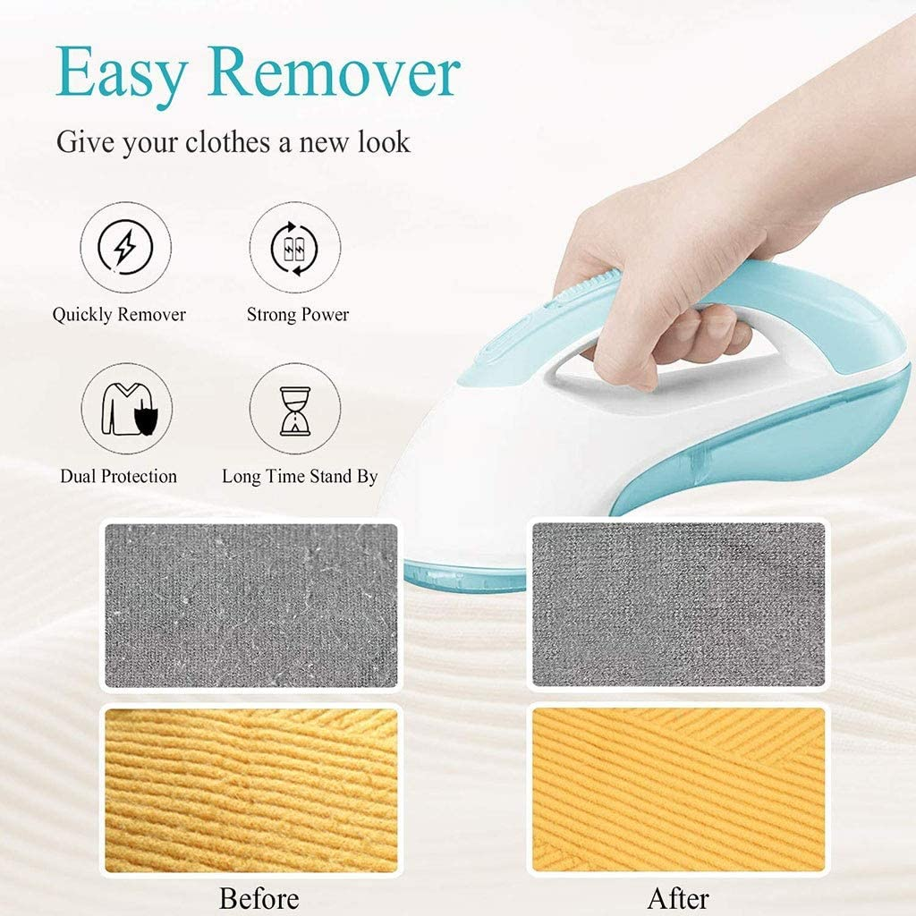Huxiaoe Electric Fabric Lint Shaver, Clothes Fuzz Remover - for Clothe Cleaning Dust Fluff Pellets Cut (Color : Blue) Blue