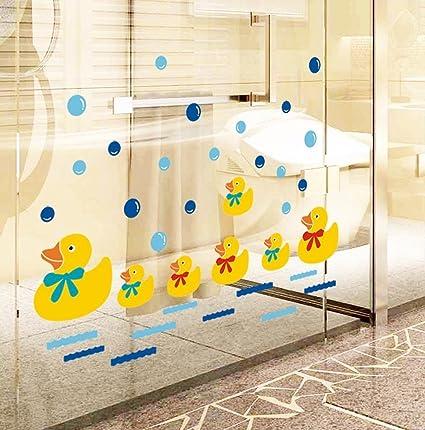Amazon Com Bibitime Baby Bathroom Glass Door Cute Yellow Ducks Wall
