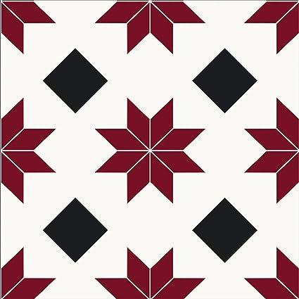 Floorpops Fp2482 Orion Peel Stick Floor Tiles Decal Red