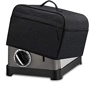 INMUA 2 Slice Toaster Cover with 2 Pockets, Toaster Appliance Cover with Top handle, Dust and Fingerprint Protection, Machine Washable (Black)