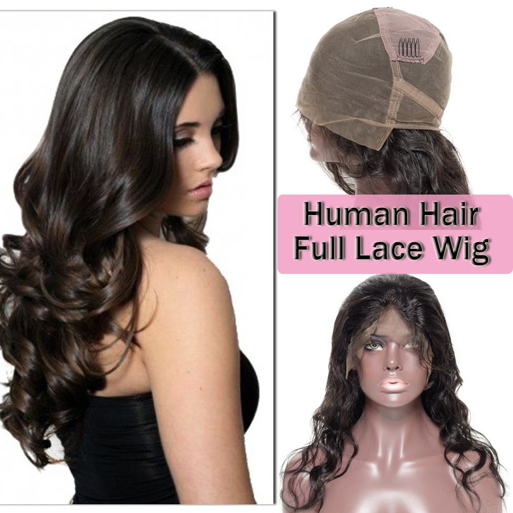 f85df881f Amazon.com : Short Body Wave Full Lace Wigs 100% Virgin Human Hair for  Women Daily or Party Dress Unprocessed Brazilian Bob Wig (10'' with 130%  density, ...