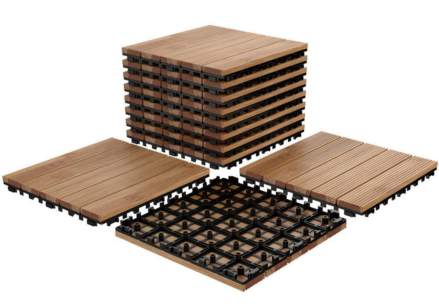 Amazon.com: Cypress Shop Interlocking Wood Tile Flooring ...