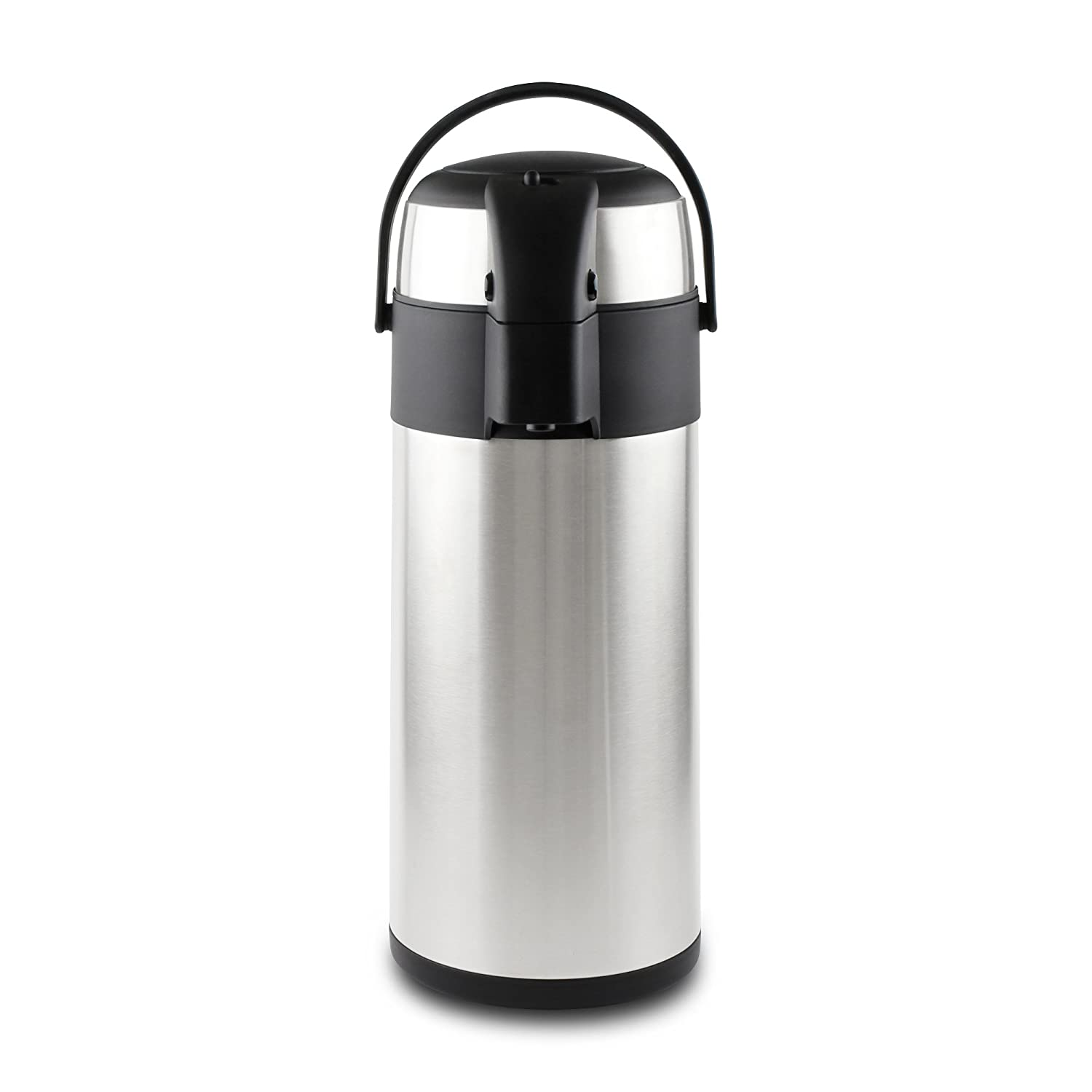 Pioneer Flasks Stainless Steel Air Pot Hot Cold Water Tea Coffee Dispenser Conference Event Flask, Satin Finish, 2.2 Litre Grunwerg SS22R