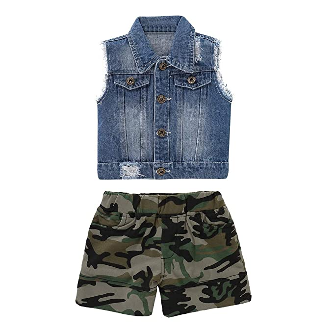 buy popular 44a85 0a974 Chennie Toddler Kid Baby Boys Summer Outfit Gilet di Jeans ...