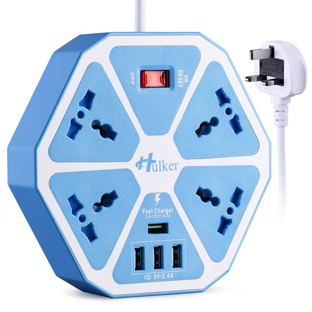 Desktop Power Strips with Quick Charger USB,4 Way Socket and 3 USB Ports. HULKER Power Socket suit for UK/EU/US/AU/IT/SA/IN plugs, 2 Meters Extension lead with Surge Protection,UK plug and Shutter HULKER ACTION