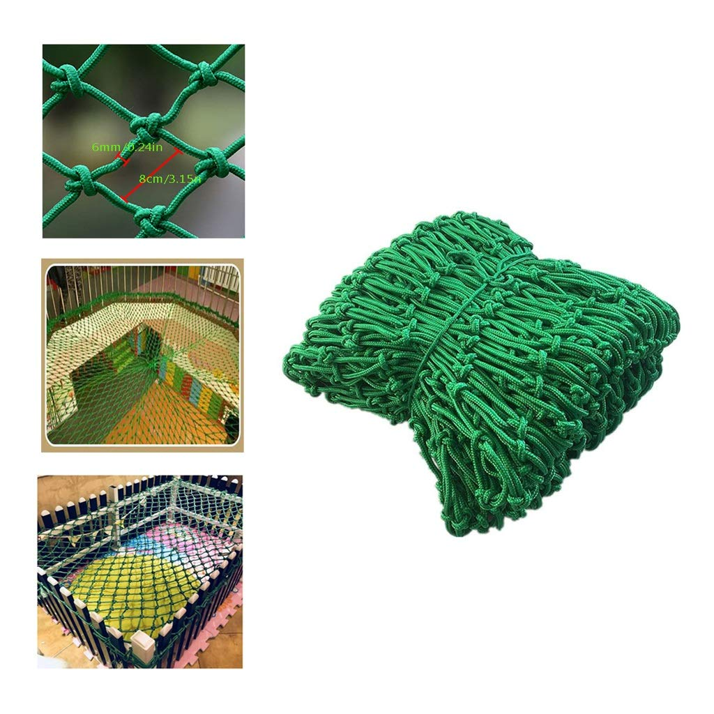 BHH Balcony Protection Net, Kids/Pet/Toy/Child Safety Net Nylon Kindergarten Green Decoration Net Stairs Anti-Fall Rope Net Home Indoor Isolation Net (Rope Thick 6mm+mesh 8cm) (Size : 1x5m)
