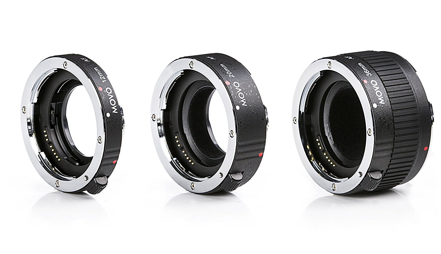 Movo MT-O68 3-Piece AF Chrome Macro Extension Tube Set for Olympus Evolt Four Thirds Mount DSLR Camera with 12mm, 20mm, 36mm Tubes by Movo