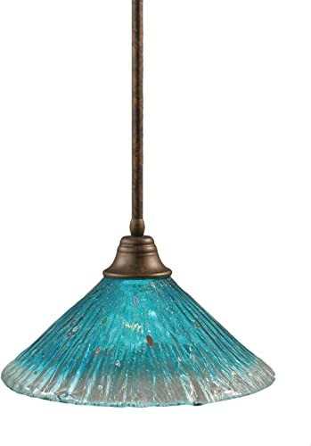 Toltec Lighting 26-BRZ-715 Stem Pendant Light Bronze Finish with Teal Crystal Glass Shade, 16-Inch