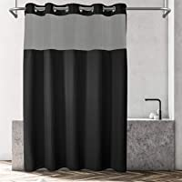 Hotel Grade No Hooks Needed Shower Curtain with Snap in Liner,Water Repellent, Machine Washable (Black, 71