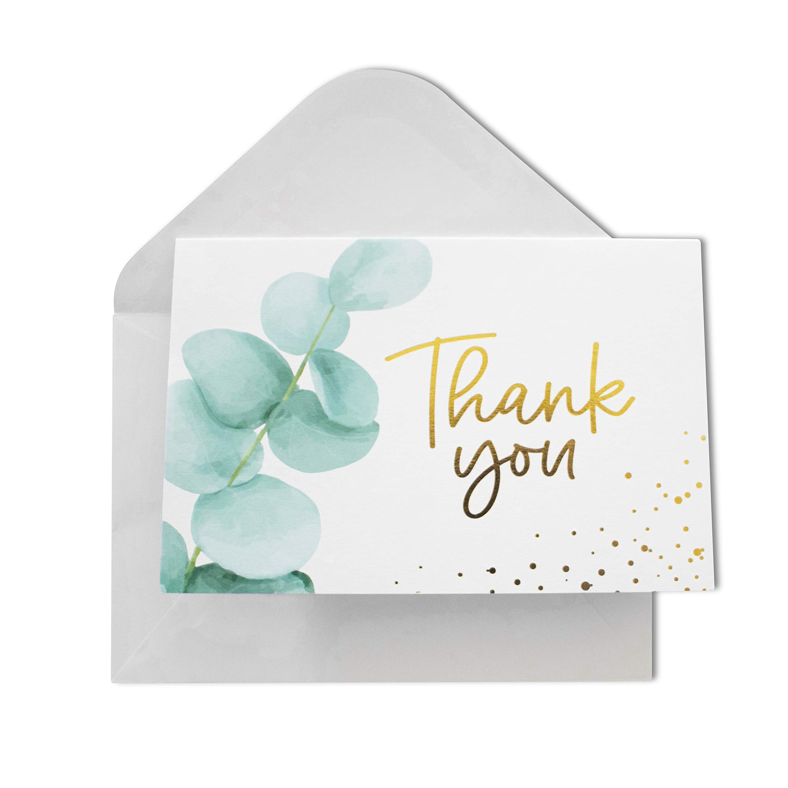 Thank You Cards with Envelopes | 48 Gold Foil Eucalyptus | Wedding, Bridal Shower, Baby Shower Cards 4x6 inches by Olive & Emma