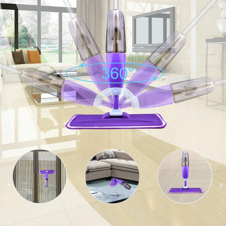 Hardwood Floor Mop Microfiber Spray Mop with Refillable Bottle and 2 Pcs Reusable Microfiber Pads (Purple) by BONROB (Image #6)