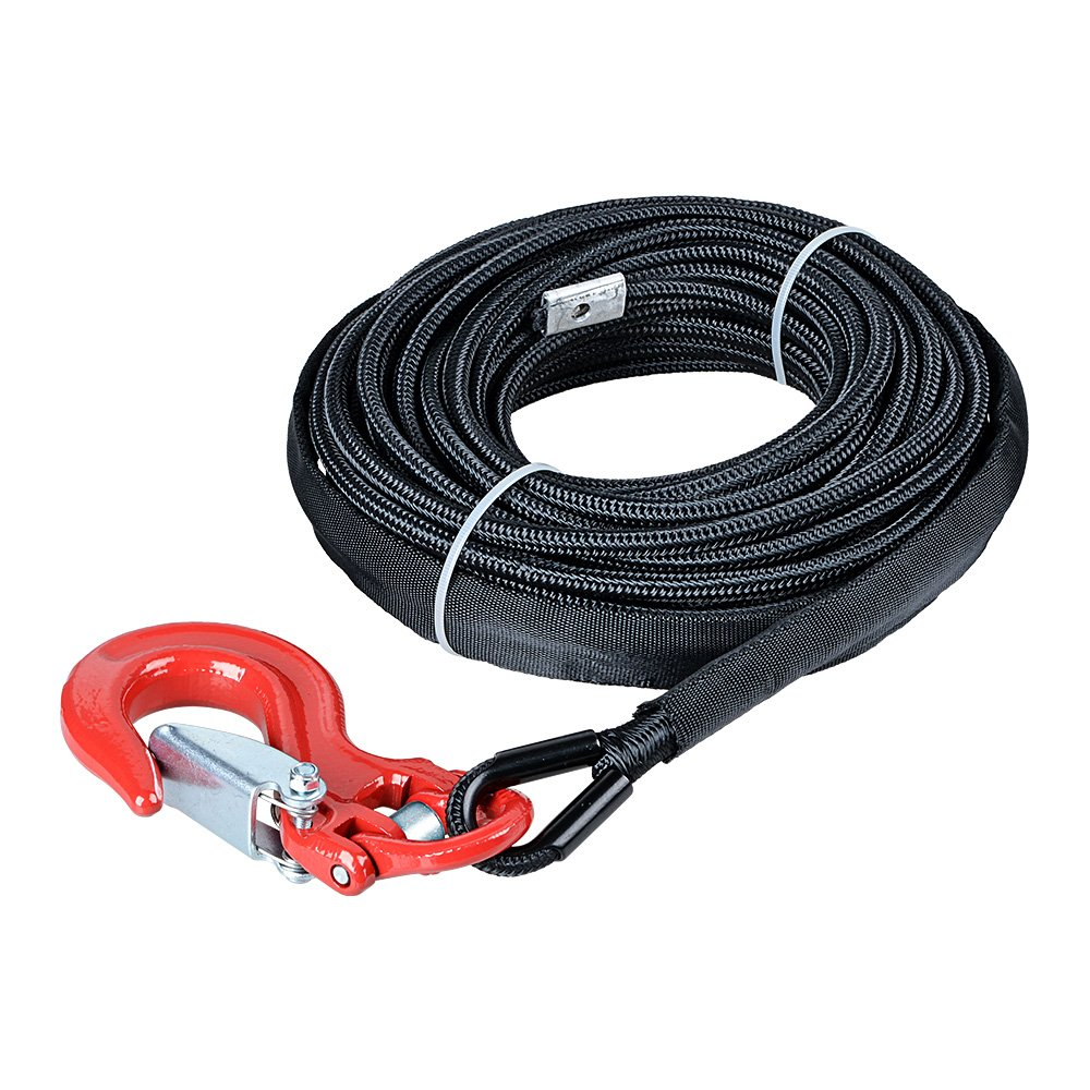 Astra Depot 50' x 1/4 7000lbs Black Synthetic Winch Line Cable Rope w/Rock All Heat Guard + RED Heavy Duty Half-Linked Hook for ATV UTV SUV KFI Recovery Replacement