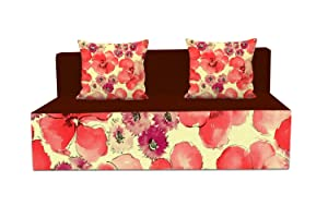 Aart Store One Seater Printed Mechanism Type Fold out Sofa Cum Bed with 2 Cushion (3x6 ft, Multicolour)