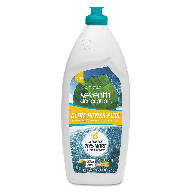 Seventh Generation 22928CT Natural Dishwashing Liquid, Ultra Power Plus, Fresh Citrus, 22 oz Bottle (Case of 12)