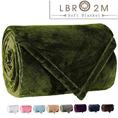 LBRO2M Fleece Bed Blanket Super Soft Warm Fuzzy Velvet Plush Throw Lightweight Cozy Couch Twin/Queen/King Size (King(104-by-90 luches), Green)