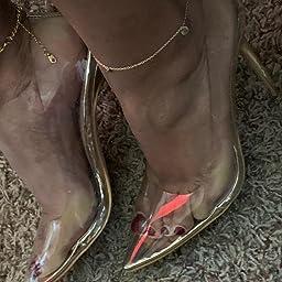 Amazon Com Missheel Clear Stiletto Pump Heels Closed Toe Glass Heels Cinderella High Heel Pump Elegent Gold Size 5 Pumps