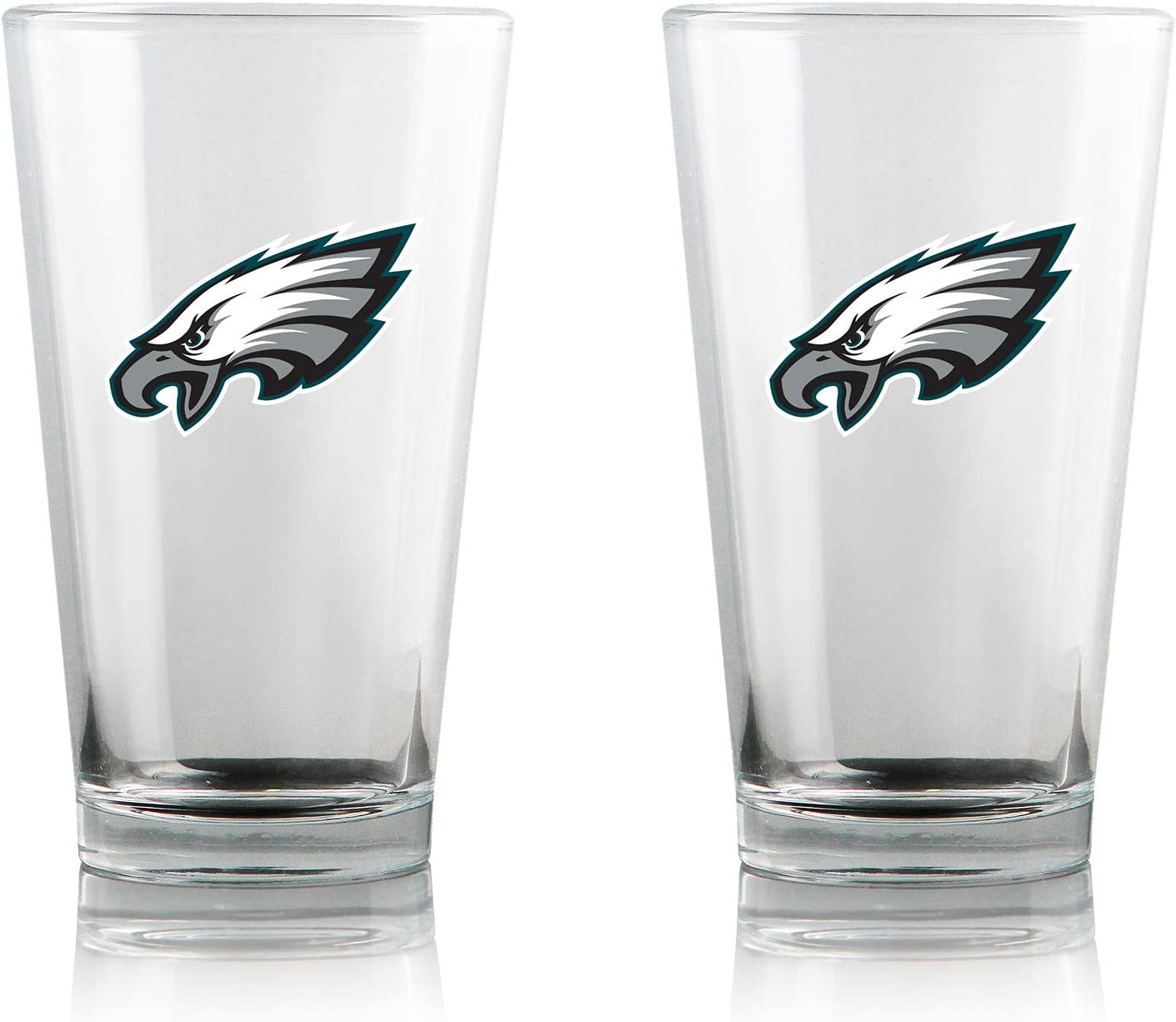 Duck House NFL Clear Highball Pint Glasses | Premium Glassware | Lead-Free | BPA-Free | 16oz | Set of 2