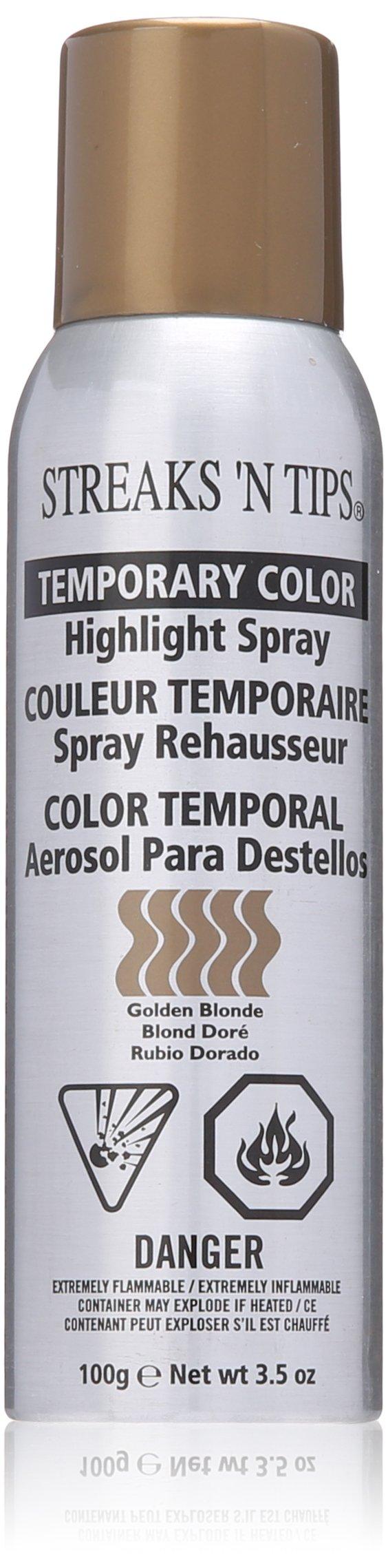 Streaks N Tips Golden Blonde Temporary Spray-on Hair Color, ...