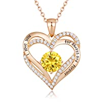 Forever Love Heart Necklace 925 Sterling Silver Rose Gold Plated July Birthstone Pendant Necklaces for Women with 5A Cubic Zirconia Jewelry Birthday Gift