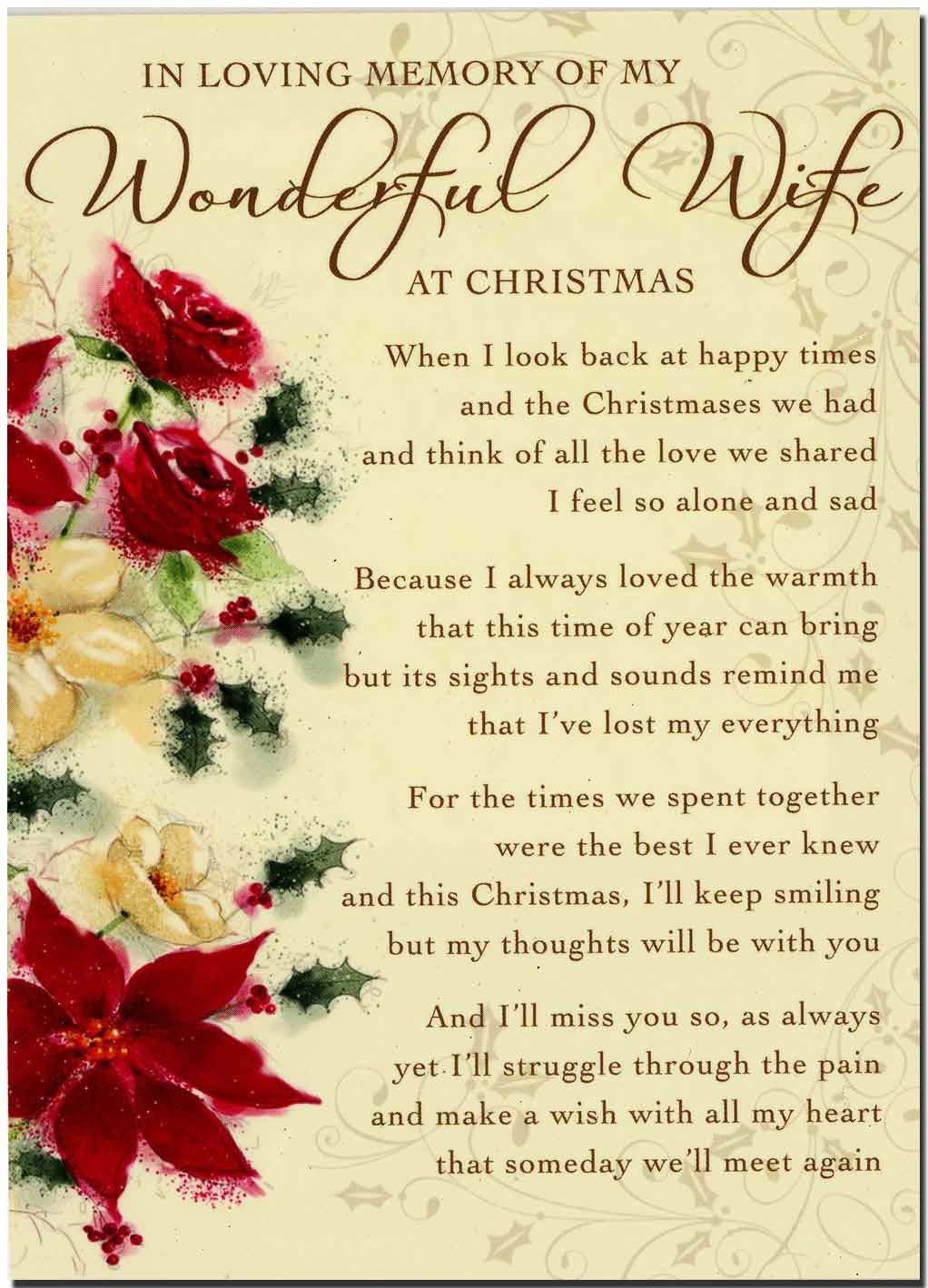 Grave card in loving memory of my wonderful wife at christmas grave card in loving memory of my wonderful wife at christmas free card holder c104 amazon kitchen home kristyandbryce Choice Image