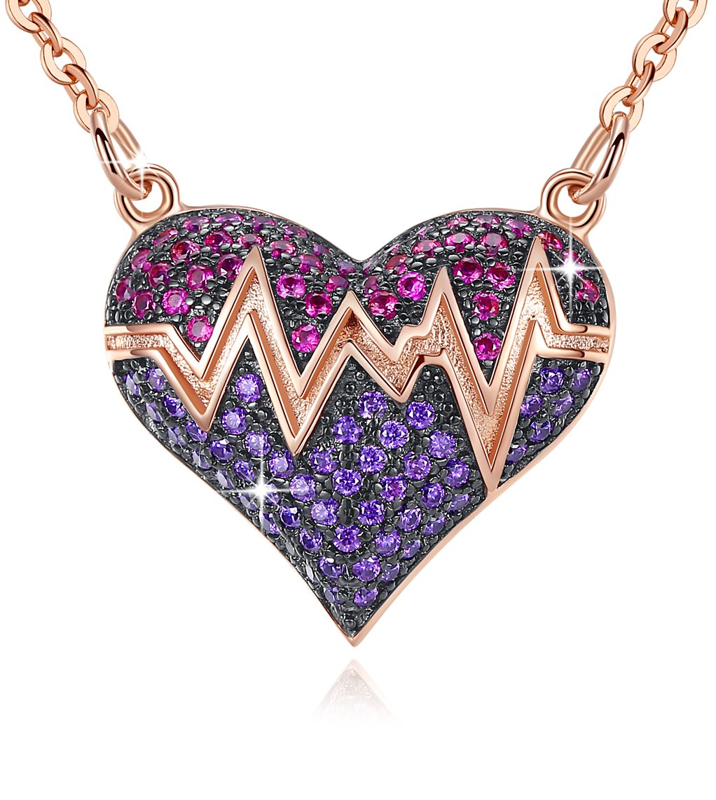Esottia Amethyst Pink Heart Pendant Necklace Love Heartbeat Rose Gold Plated Jewelry Birthday Wedding for Women