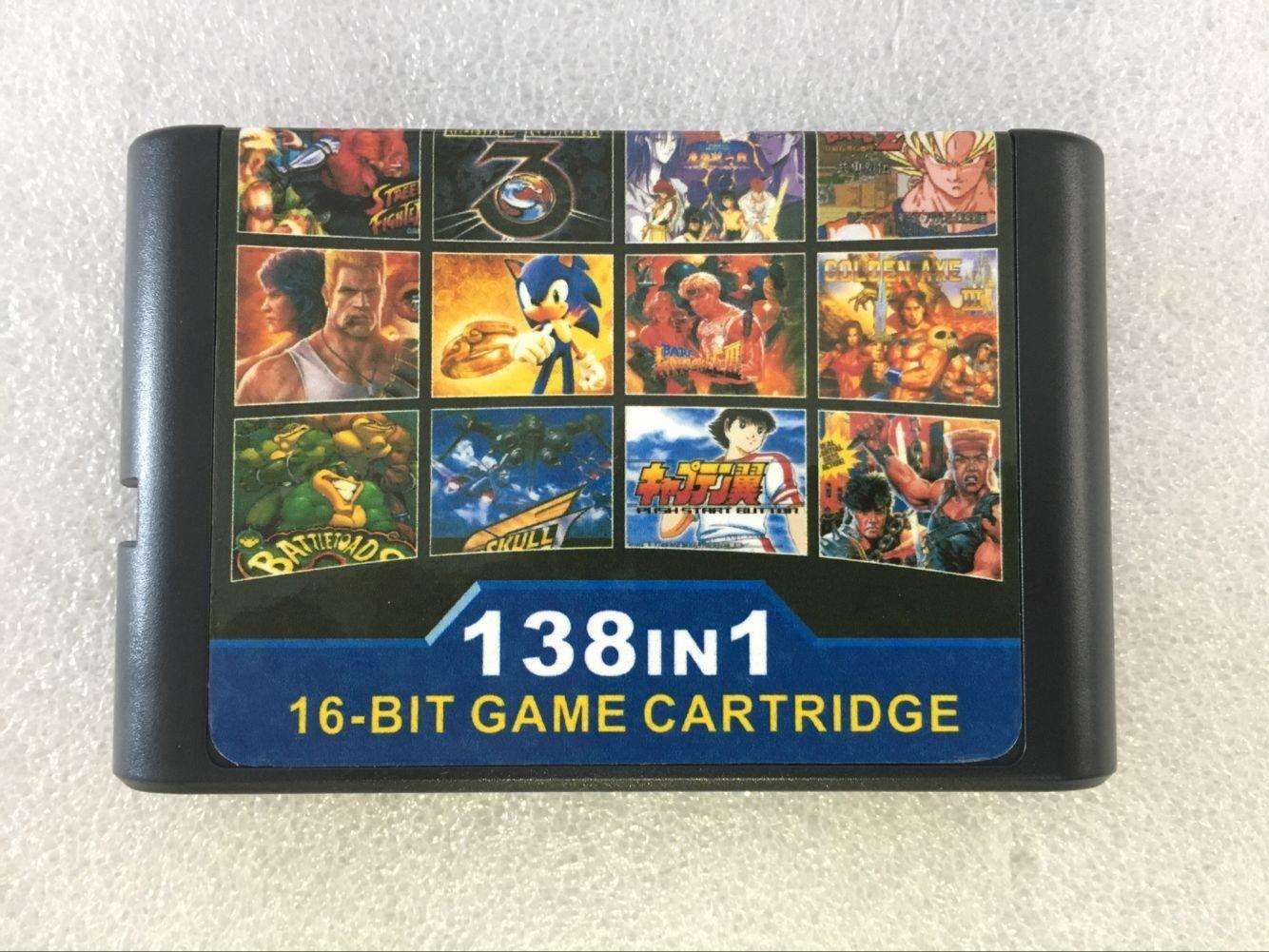 Super 138 in 1 Games Sega Megadrive Genesis 16 bit Game Cartridge tv Game Video Game with Super Street Figher 2 Turtles 3 Thunder Force