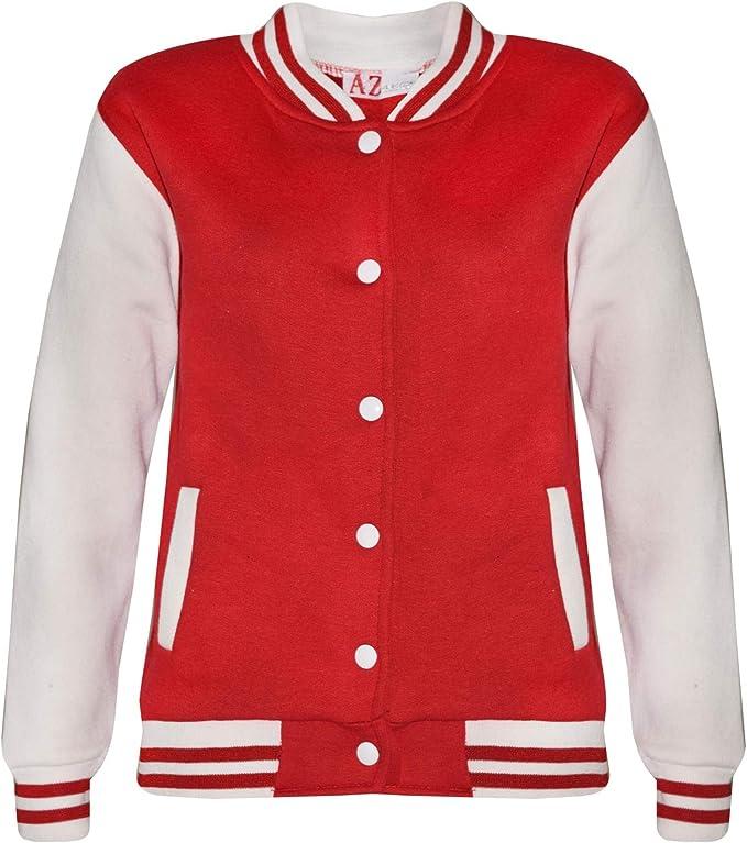A2Z 4 Kids® Kinder Mädchen Jungen Baseball Jacke Varsity Stil Mode Plain Rot Schul Jacken Top Neu Alter 5 6 7 8 9 10 11 12 13 Jahre