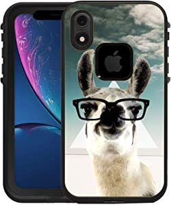 Teleskins Protective Designer Vinyl Skin Decals/Stickers Compatible with iPhone Xr Lifeproof Fre Case -Hipster Llama Geek Glass Design Patterns - only Skins and not Case