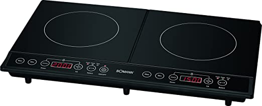 Bomann 650291 Placa de inducción doble portátil, 10 niveles de temperatura, 3500W, 3500 W