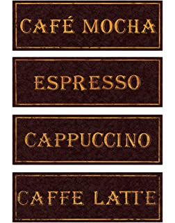 Vintage Paris Cafe Signs Cappucino Espresso Caffe Latte Caffee Mocha Kitchen